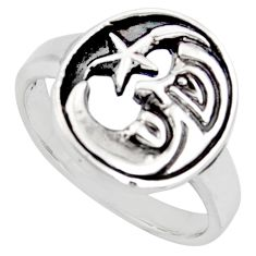 925 silver indonesian bali style solid crescent moon star ring size 6.5 c7013