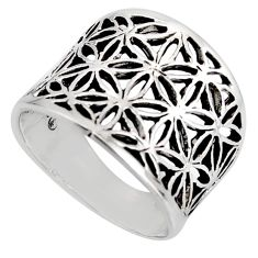 5.69gms indonesian bali style solid 925 silver flower ring size 7.5 c7016