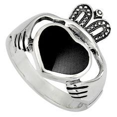 Black onyx silver crown heart irish celtic claddagh ring size 12 c7021