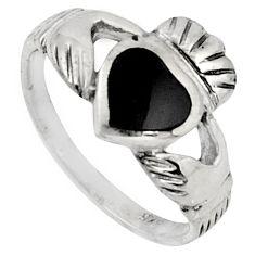 Irish celtic claddagh ring silver black onyx crown heart ring size 6 c7024