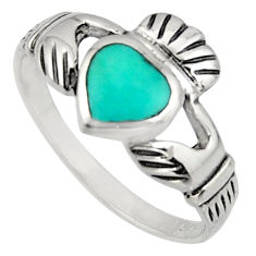 Irish celtic claddagh ring turquoise 925 silver crown heart ring size 8 c7027