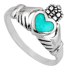 Irish celtic claddagh turquoise 925 sterling silver crown heart size 9.5 c7029