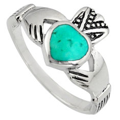 Turquoise 925 sterling irish celtic claddagh ring crown heart size 6.5 c7030