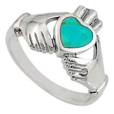 Turquoise irish celtic claddagh ring silver crown heart ring size 8 c7031