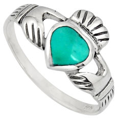Irish celtic claddagh ring turquoise crown heart ring jewelry size 9 c7032