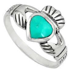 Irish celtic claddagh ring turquoise silver crown heart ring size 7.5 c7033