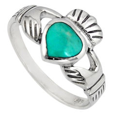 Irish celtic claddagh ring turquoise silver crown heart ring size 7.5 c7034