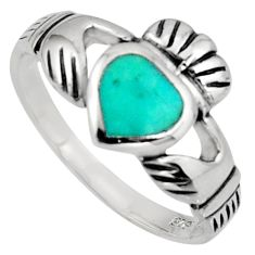 Irish celtic claddagh ring turquoise silver crown heart ring size 7.5 c7035