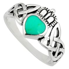 Irish celtic claddagh ring turquoise silver crown heart ring size 8.5 c7036