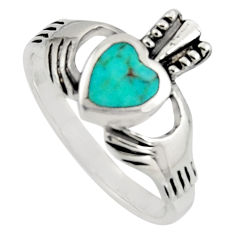 Irish celtic claddagh ring fine green turquoise crown heart ring size 8.5 c7037