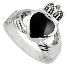 Irish celtic claddagh natural black onyx 925 silver heart ring size 9.5 c7041