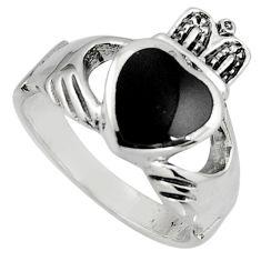 Irish celtic claddagh natural black onyx 925 silver heart ring size 7.5 c7043