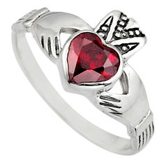 Irish celtic claddagh red garnet quartz 925 silver heart ring size 8.5 c7047
