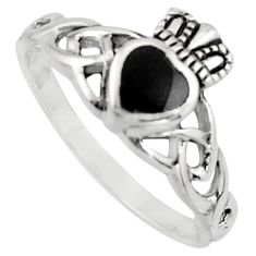 Irish celtic claddagh natural black onyx 925 silver heart ring size 9 c7048