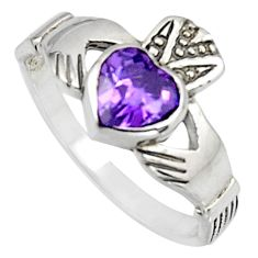 Irish celtic claddagh purple amethyst quartz silver heart ring size 6.5 c7049