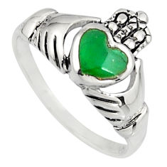Irish celtic claddagh fine green turquoise 925 silver heart ring size 8 c7054