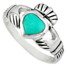Irish celtic claddagh fine green turquoise 925 silver heart ring size 7.5 c7055