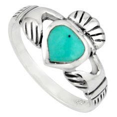 Irish celtic claddagh fine green turquoise 925 silver heart ring size 7.5 c7056