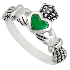 Irish celtic claddagh fine green turquoise 925 silver heart ring size 7 c7057