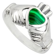 Irish celtic claddagh natural green malachite 925 silver heart ring size 8 c7058