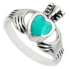Irish celtic claddagh fine green turquoise 925 silver heart ring size 8 c7059