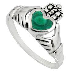 Irish celtic claddagh malachite (pilot's stone) silver heart ring size 8 c7060