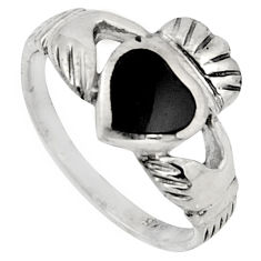 0.91cts irish celtic claddagh natural black onyx silver heart ring size 8 c7062