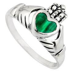Irish celtic claddagh natural green malachite silver heart ring size 8 c7063