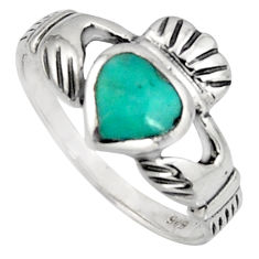 Irish celtic claddagh green turquoise 925 silver heart ring size 6.5 c7064