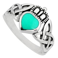 Irish celtic claddagh fine green turquoise 925 silver heart ring size 11 c7065