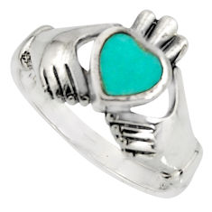 Irish celtic claddagh fine green turquoise 925 silver heart ring size 8 c7066