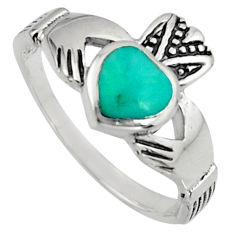 Irish celtic claddagh fine green turquoise 925 silver heart ring size 7 c7068