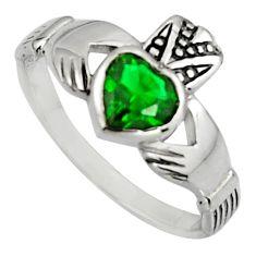 Irish celtic claddagh green emerald (lab) 925 silver heart ring size 7 c7069