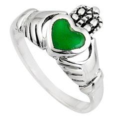 Irish celtic claddagh natural aqua chalcedony 925 silver heart ring size 8 c7071