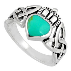 Irish celtic claddagh fine green turquoise 925 silver heart ring size 5.5 c7072