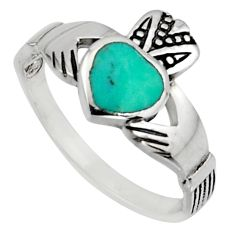 Irish celtic claddagh fine green turquoise 925 silver heart ring size 7.5 c7076