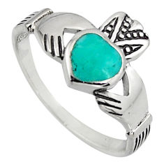 Irish celtic claddagh fine green turquoise 925 silver heart ring size 7.5 c7077