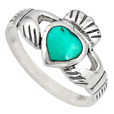 Irish celtic claddagh fine green turquoise 925 silver heart ring size 8 c7078
