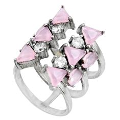 6.53cts pink chalcedony topaz 925 sterling silver ring size 5 c7084