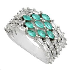 6.18cts aqua chalcedony topaz 925 sterling silver ring size 8 c7089