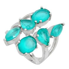925 silver 11.19cts aqua chalcedony adjustable ring size 5 c7098