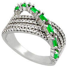 3.66cts green emerald (lab) topaz 925 sterling silver ring size 8.5 c7118