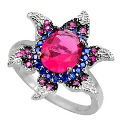 925 sterling silver 5.83cts red ruby (lab) blue sapphire (lab) ring size 9 c7120
