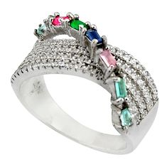 3.33cts red ruby (lab) chalcedony 925 sterling silver ring size 7.5 c7123