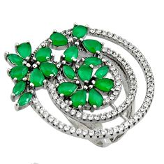 6.95cts green emerald (lab) topaz 925 sterling silver ring jewelry size 7 c7147