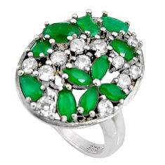 7.22cts green emerald (lab) topaz 925 sterling silver ring jewelry size 8 c7170