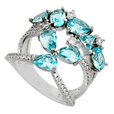 925 sterling silver 6.58cts blue topaz quartz topaz ring jewelry size 7 c7172