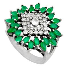 5.63cts green emerald (lab) topaz 925 sterling silver ring size 7.5 c7178