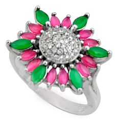 925 sterling silver 5.30cts red ruby (lab) green emerald (lab) ring size 8 c7188