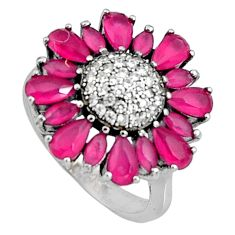 4.93cts red ruby (lab) topaz 925 sterling silver ring jewelry size 6 c7194
